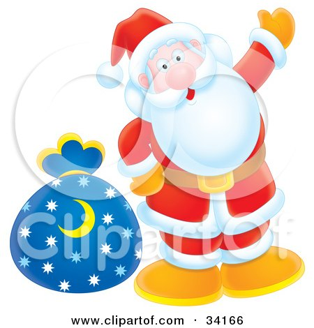 Clipart Illustration of Santa Giving A Friendly Wave And Standing With A Toy Sack by Alex Bannykh