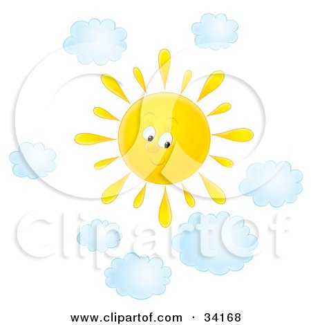 Cute Summer Sun Shining In A Cloudy Sky On A Nice Day Posters, Art Prints