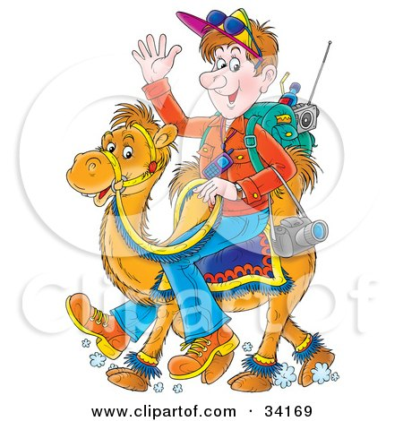 Clipart Illustration of a Friendly Male Tourist With His Gear, Waving And Riding On The Back Of A Camel by Alex Bannykh