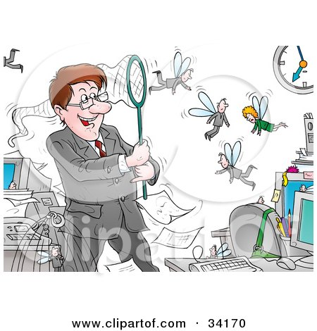 Clipart Illustration of a Controlling Male Boss Catching His Fly Employees In A Net by Alex Bannykh