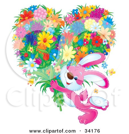 Adorable Pink Bunny Rabbit Carrying A Large Heart Shaped Floral Bouquet Posters, Art Prints