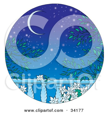 Clipart Illustration of a Romantic Scene From A Balcony With Night Flowers And A Crescent Moon In A Starry Sky by Alex Bannykh