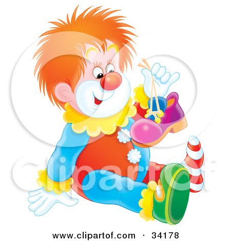 Clipart Illustration of a Cute Red Haired Clown Holding Up One Of His Shoes And Sitting On The Floor by Alex Bannykh