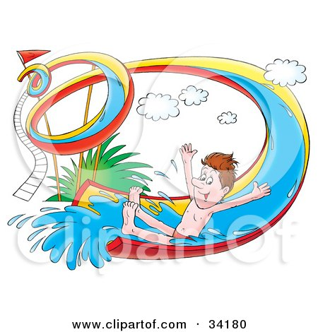Happy Man Holding His Arms Out And Riding Down A Twisty Water Slide Posters, Art Prints