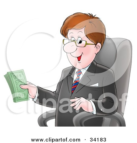 Clipart Illustration of a Happy Caucasian Businessman In A Black Jacket, Sitting In A Chair And Holding Money In His Hand by Alex Bannykh