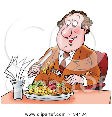 Clipart Illustration of a Pleasant Food Critic Man In A Suit, Preparing To Take A Bite Of Food In A Restaurant by Alex Bannykh