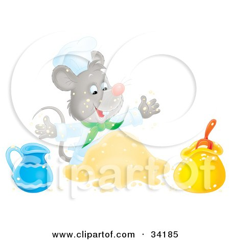 Happy Mouse Chef Mixing Ingredients While Cooking Posters, Art Prints