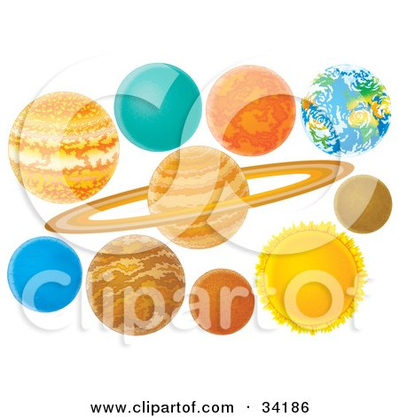 Clipart Illustration of Colorful Planets Of The Solar System by Alex Bannykh
