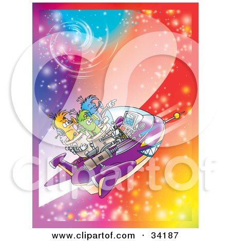 Clipart Illustration Of Three Aliens Flying Through A Sparkling And Colorful Galaxy In Space