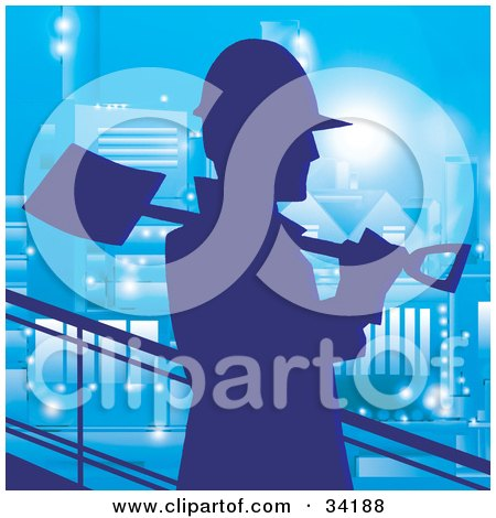 Clipart Illustration of a Silhouetted Construction Worker Walking Past With A Shovel On His Shoulder, Against A Blue Building At Night by Alex Bannykh