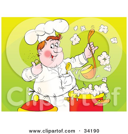 Clipart Illustration of a Happy And Chubby Male Chef Giving The Thumbs Up While Holding Up A Ladle Of Soup by Alex Bannykh