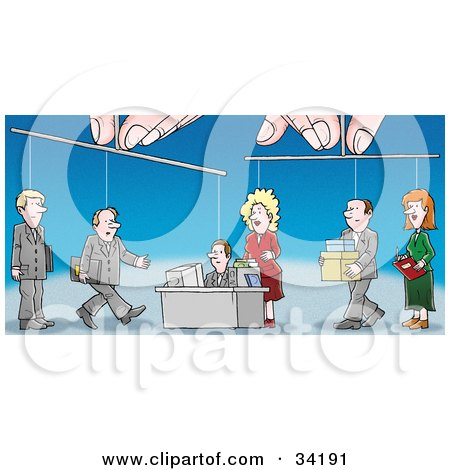 Clipart Illustration of a Pair Of Hands Controlling Puppet Employees As They Conduct Their Work In An Office by Alex Bannykh