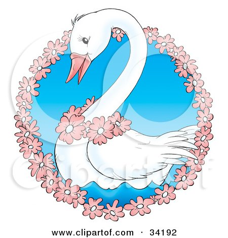 Clipart Illustration of a Cute White Swan Wearing Pink Flowers, Swimming In A Circle Of Flowers by Alex Bannykh
