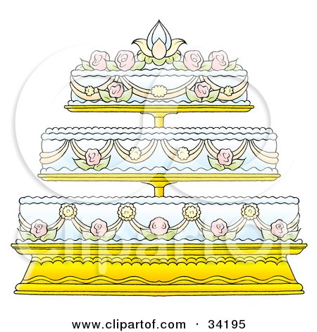 Clipart Illustration of an Elegant Three Tiered Wedding Cake Adorned In Floral Frosting Designs by Alex Bannykh
