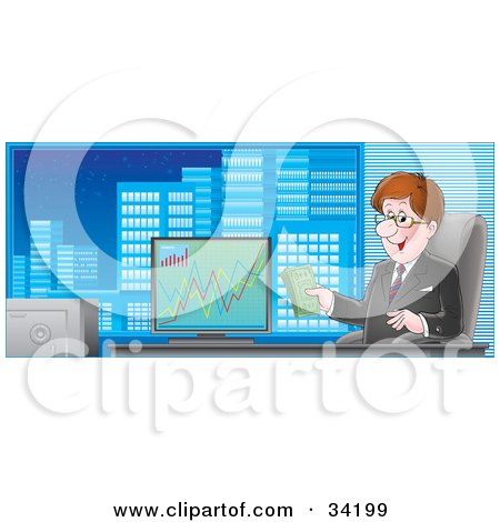 Clipart Illustration of a Professional Businessman Sitting In A Chair In His City Office, Holding Cash And Smiling, A Graph Of Profits On His Computer by Alex Bannykh