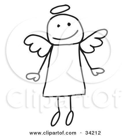 Clipart Illustration of a Cute Flying Stick Angel With A Halo by C Charley-Franzwa