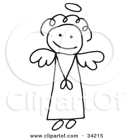 Clipart Illustration of an Innocent Flying Stick Angel Girl With A Halo by C Charley-Franzwa