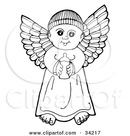 Clipart Illustration Of A Black And White Pen And Ink Drawing Of A