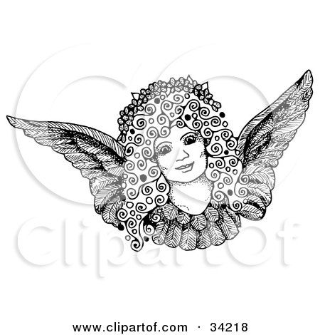 Clipart Illustration of a Pen And Ink Drawing Of A Pretty Female Angel Face With Curly Hair And A Floral Wreath by C Charley-Franzwa