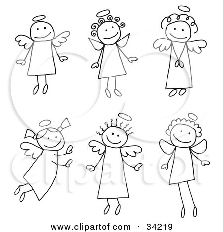 Clipart Illustration of a Group Of Six Different Stick Angels With Halos by C Charley-Franzwa