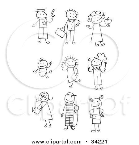 Clipart Illustration of a Stick Police Officer, Late Businessman, Teacher, Baby, Child, Chef, Teenager, Prisoner And Kid by C Charley-Franzwa