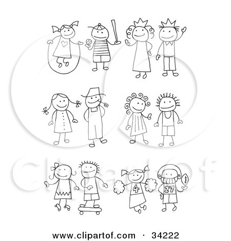 Clipart Illustration of a Stick Girl Juming Rope, Boy Playing Baseball, King, Queen, Farmer And Wife, Skating Girl, Skateboarding Boy, Cheerleader And Football Player by C Charley-Franzwa