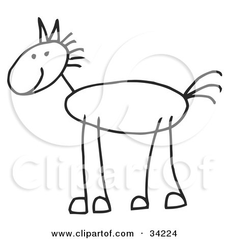 Clipart Illustration of a Happy Stick Figure Horse In Profile by C Charley-Franzwa