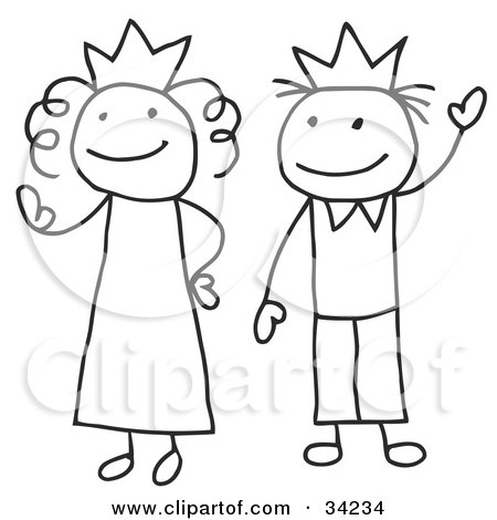 Clipart Illustration of a Stick Queen And King Or Princess And Prince by C Charley-Franzwa