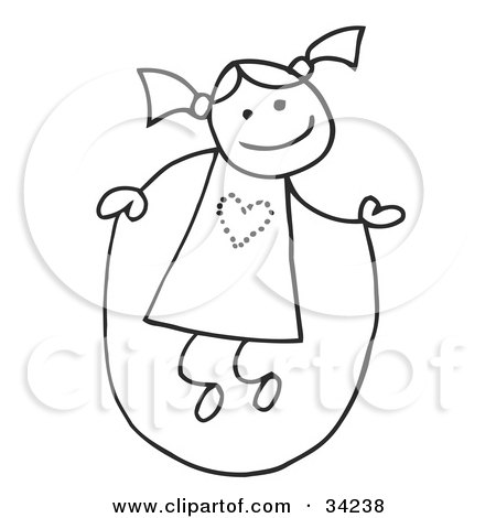 Clipart Illustration of a Happy Stick Girl With Her Hair In Pig Tails, Jumping Rope by C Charley-Franzwa
