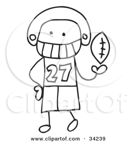 Clipart Illustration of a Stick Football Player by C Charley-Franzwa