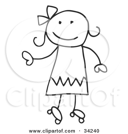 Clipart Illustration of a Happy Stick Girl Roller Skating by C Charley-Franzwa