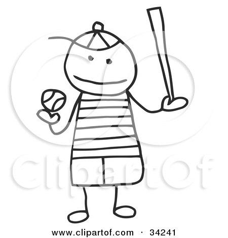Clipart Illustration of a Stick Boy Playing Baseball by C Charley-Franzwa