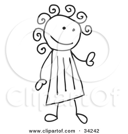 Clipart Illustration of a Stick Girl With Curly Hair by C Charley-Franzwa