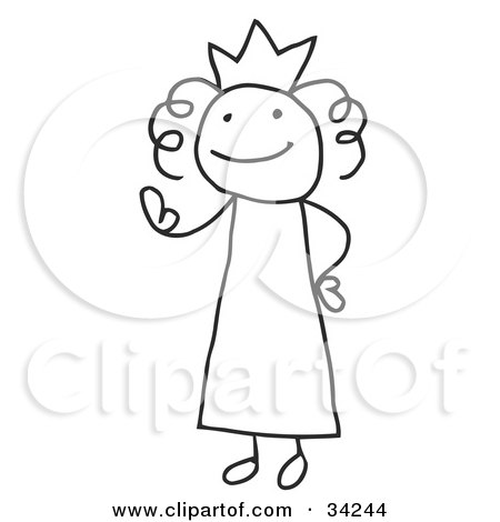 Clipart Illustration of a Stick Queen Or Princess Wearing A Crown And Waving by C Charley-Franzwa
