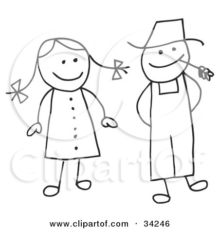 clipart illustration of a happy stick boy and girl by c