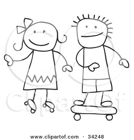 Clipart Illustration of a Stick Boy And Girl Skateboarding And Roller Skating by C Charley-Franzwa