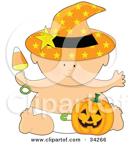 Clipart Illustration of a Halloween Baby In An Orange Starry Witch's Hat And Diaper, Holding A Candy Corn Rattle And Sitting With A Pumpkin by Maria Bell