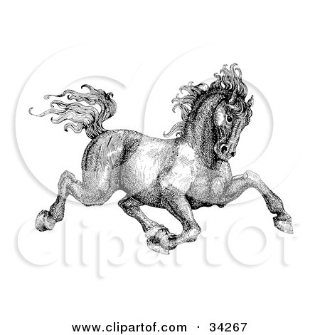 Clipart Illustration Of A Carousel Horse Facing Right On Spiral