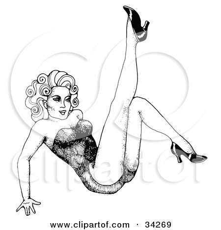 Clipart Illustration of a Sexy Black And White Pinup Girl Leaning Back On Her Hands, Kicking Up Her Leg by C Charley-Franzwa