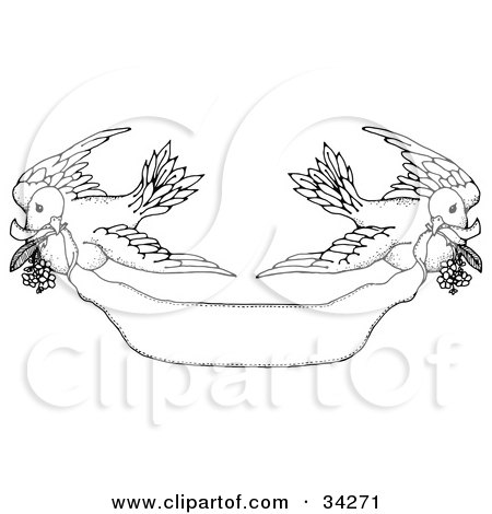 Clipart Illustration of Two Black And White Turtle Doves Flying A Banner With Flowers In Their Mouths by C Charley-Franzwa