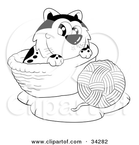 Royalty-free animal clipart picture of a cute cat in a basket, playing with