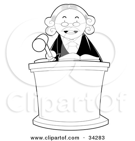 Clipart Illustration of a Stern Male Judge Behind A Podium, Wearing A White Wig And Banging His Gave by YUHAIZAN YUNUS