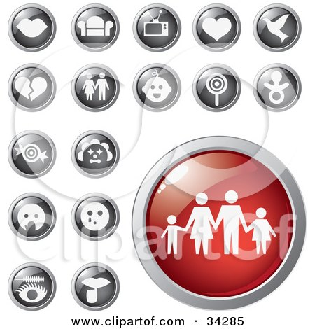 Clipart Illustration of a Red Family Icon Button With A Set Of Lips, Furniture, Electronics, Love And Other Icons by Eugene