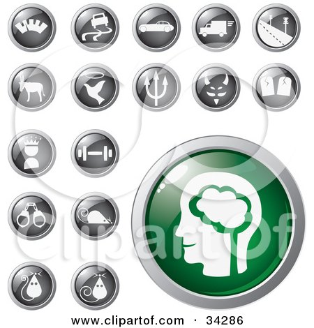 Clipart Illustration of a Green Brain Icon Button With A Set Of Transportation, Animal, Conscience, Fitness And Mouse Icons by Eugene