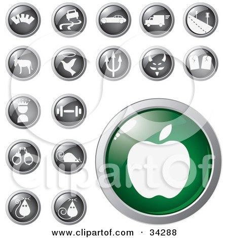 Clipart Illustration of a Green Apple Icon Button With A Set Of Transportation, Animal, Religion, Fitness And Other Icons by Eugene