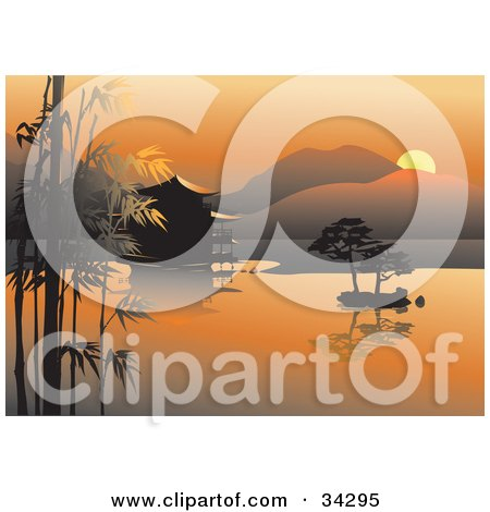 Clipart Illustration of a Scenic Asian View Of An Orange Sunset Over Bamboo, Trees And A Hut On Still Waters With Hills In The Background by Eugene
