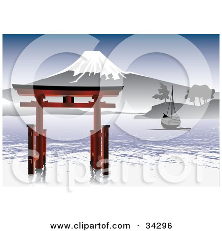 Clipart Illustration of a Scenic Asian View Of A Boat Near A Structure On Rippling Water With A Snow Capped Mountain Under A Blue Sky by Eugene