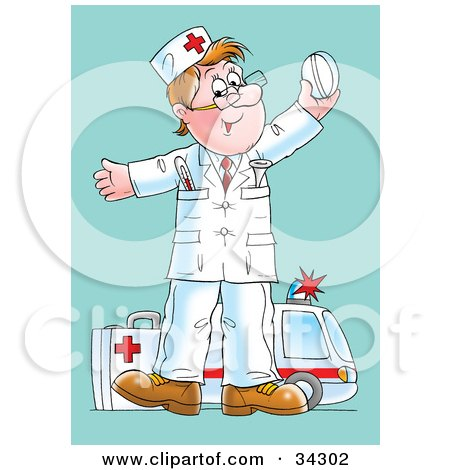 Clipart Illustration of a Happy Male Caucasian Paramedic Standing With A First Aid Kit, Holding Up A Pill, An Ambulance In The Background by Alex Bannykh