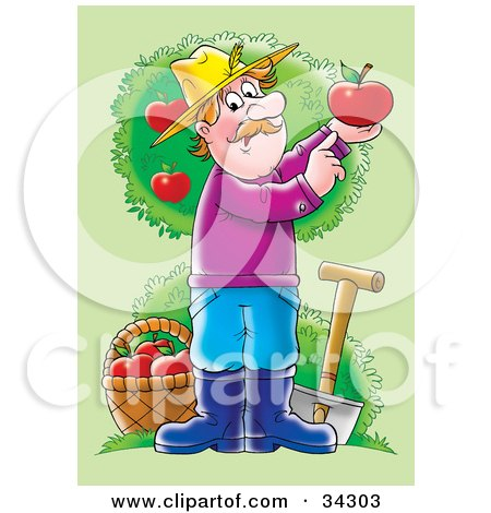 Clipart Illustration of a Male Caucasian Farmer With A Shovel And Basket In An Apple Orchard, Holding Up A Perfect Red Apple by Alex Bannykh