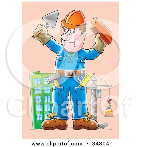 Clipart Illustration of a Friendly Male Construction Worker Holding Up A Brick And Trowel, A Skyscraper And Crane In The Background by Alex Bannykh